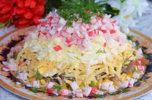 салат сыр  крабовые палочки