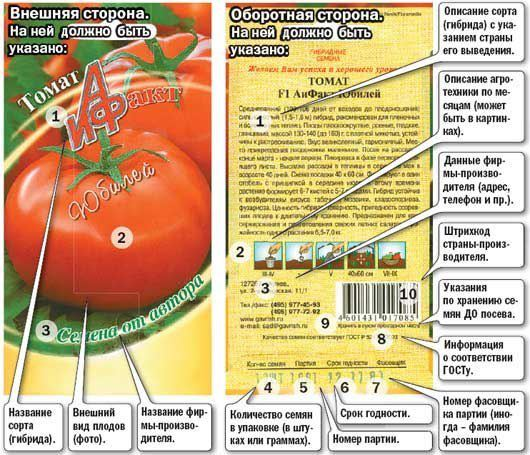 упаковка семян томата