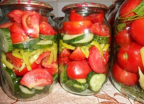 Огурцы с помидорами салат на зиму рецепты с